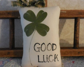 Primitive Hand Painted Shamrock Good Luck St. Patrick's Day Wallhanging Pillow Tuck