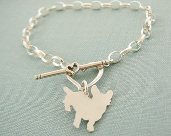 Cardigan Welsh Corgi Dog Chain Bracelet, Sterling Silver Personalize Pendant, Breed Silhouette Charm, Rescue Shelter, Mothers Day Gift