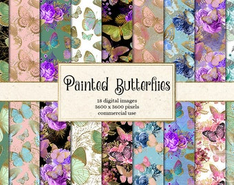 Painted Butterflies Digital Paper, gold foil butterfly printable scrapbook paper, spring butterfly patterns, digital watercolor textures