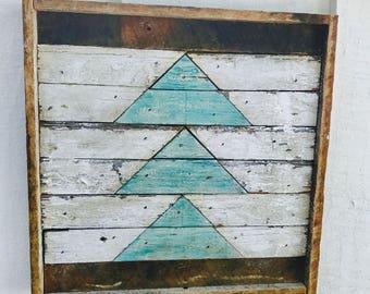 "12x12"" Square Rustic Wood Wall Art - Triangles. Wooden Wall Art, Geometric Wall Art, Wall Art, Reclaimed Wood Art, Modern Wall Art,"