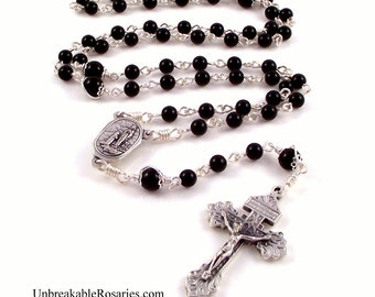 Lourdes Holy Water Rosary Beads In Black Onyx With Pardon Crucifix by Unbreakable Rosaries