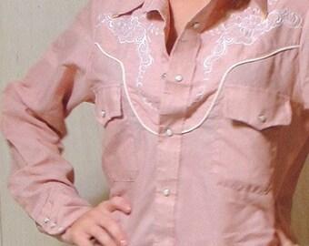 vintage western light maroon cowboy shirt unisex