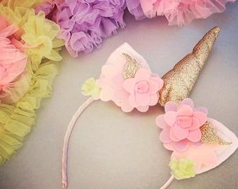 Girls Birthday - Unicorn Birthday Party Headband - Unicorn Headband - Amber