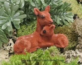 Miniature Deer and Fawn, Fairy Garden, Dollhouse