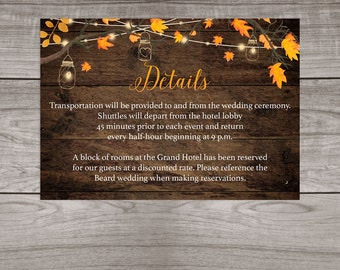 Rustic Fall Wedding Details Insert Cards Printed and Shipped to You - Country Rustic Wedding - Affordable Inserts - Wedding-107