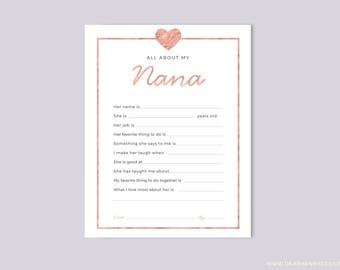 Printable All About My Nana Instant Download, Grandparents Day Questionnaire, Grandparent's Day Gift,  Pink Blank card Grandkids & kids
