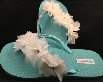 Bridal Flip Flops, Custom Flip Flops, Aqua Dancing Shoes, Aqua Bridal Sandals, Wedding Flip Flops, Aqua Sandals, Beach Wedding Shoes