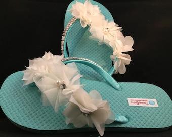 Bridal Flip Flops, Custom Flip Flops, Aqua Dancing Shoes, Aqua Bridal Sandals, Wedding Flip Flops, Aqua Sandals, Beach Wedding Shoes
