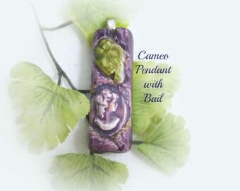 cameo pendant, purple cameo,purple pendant, cameo pendant necklace,    # 28