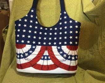 American flag patriotic  tote bag purse