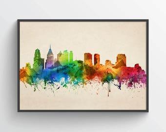 Philadelphia Skyline Poster, Philadelphia Cityscape, Philadelphia Decor, Philadelphia Art, Home Decor, Gift Idea, USPAPH05P