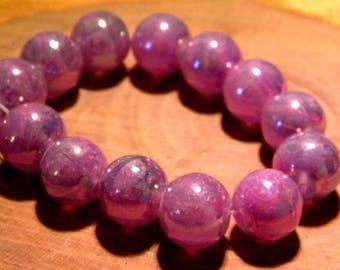 5 glass beads plated translucent AB - rainbow effect - 12 mm-purple-PF139-2