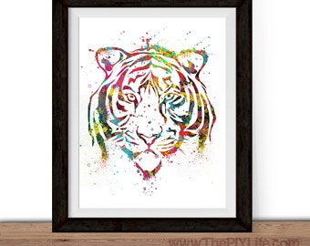 Home Decor | Watercolor Tiger Face Wall Art, Gift, Printed Art, Digital Art, Office, Free Shipping Black Friday Sale