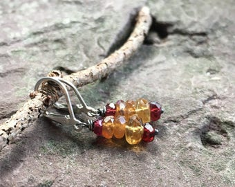 Hessonite garnet and Sterling silver earrings