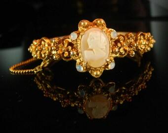 Fancy Baroque Bracelet  Vintage Florenza Victorian genuine cameo bangle faux moonstone accents