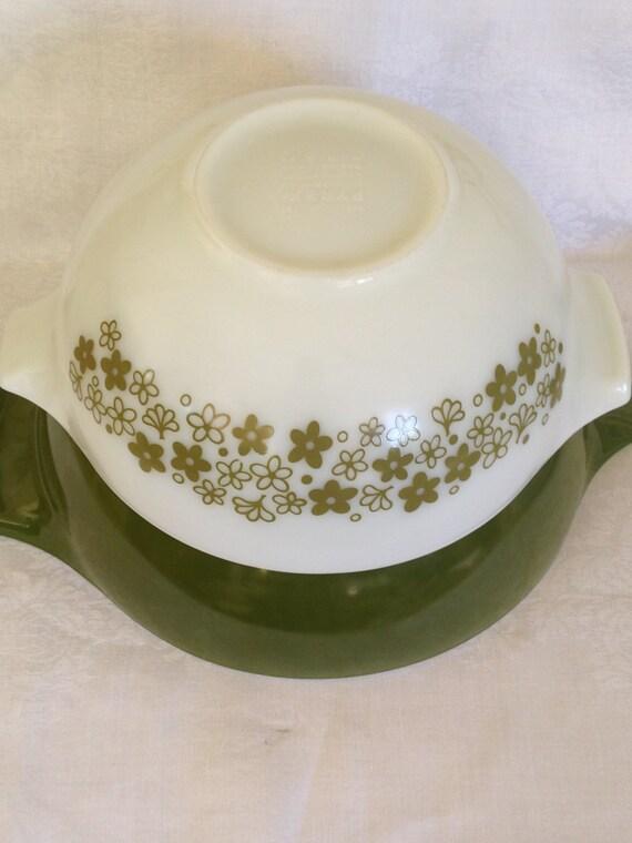 Set/3 Pyrex Mixing Bowls Avocado Green and Crazy Daisies 4 Qt, 2.5 Qt, 1.5 Qt