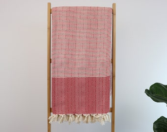 "Red Bohemian Cotton Blanket,Bed Spread, Coverlet,Large Throw Blanket Turkish Cotton, 70""x86"""