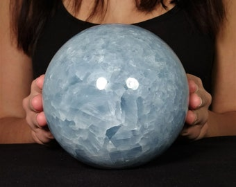 "5.3"" Blue Calcite Sphere (7.2 lb) Polished Stone Healing Crystal Ball Metaphysical Powerful Reiki"