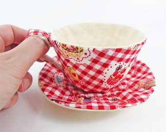 MADE-TO-ORDER ( 1 - 2 Weeks)- Textile Teacup Tidy-Red Gingham Cupcake