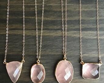 Rose Quartz Necklace // Rose Quartz Gold Necklace // Rose Quartz Rose Gold