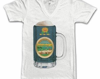 Ladies Kansas State Flag Beer Mug Tee, Home State Tee, State Pride, State Flag, Beer Tee, Beer T-Shirt, Beer Thinkers, Beer Lovers Tee