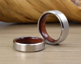 Men's Cobalt and African Blood wood Wedding Band with Beveled Edges