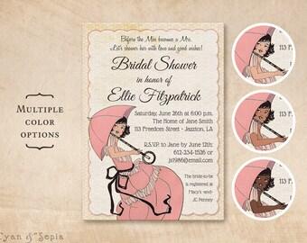 Printable 5x7 Bridal Wedding Shower Invitation - French Parasol - Choice of Skin Tone Vintage Umbrella Dress Fashion Print Your Own