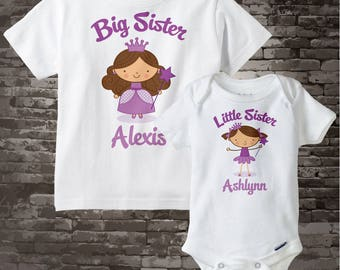 Big Sister Shirt, and Little Sister Brunette Princess Onesie or Shirt Set Personalized Princess Tee Shirt or Onesie Set of Two 06232012a