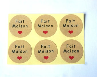 100 labels HOMEMADE STICKERs stickers, KRAFT and heart 35 mm cupcake sticker made House chicdepanne homemade packaging