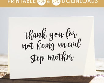 step mom printable card, evil step mom card, step mom funny card, step mom card