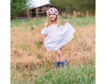 Baby boho dress, Girls, Whimsical Dress, Boho Inspired, Boho meets Vintage. off the shoulder dress, handmade, baby dress, White lace dress