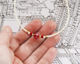 Red Beaded Choker basic ivory beads