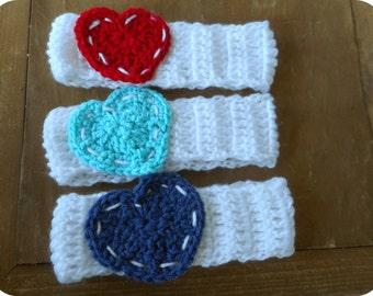 Shabby Patchwork Child Valentine Headband Winter head band. Head gear ear warmer head warmer white Headband. Denim Red or Ocean Blue Heart