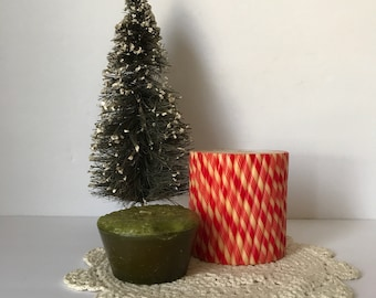 Pair of Christmas Candles * Red and White Peppermint Candy Cane * Green Bayberry