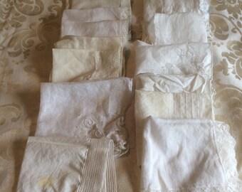 15 White and Cream Wedding Handkerchiefs/White Handkerchiefs