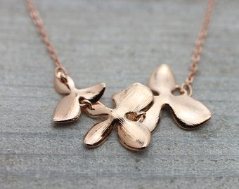 Orchid flower rose gold necklace