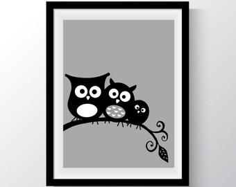 Owls on a Branch, 4 colour set, Kids Prints, Nursery Printable,  Digital Print, Kids Printable Art, Blue, Yellow, Pink, Grey, Owls, Animal