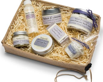 Relax and Unwind Spa Gift Hamper, pamper hamper, natural soap, natural skincare, lavender soap, spa gift.