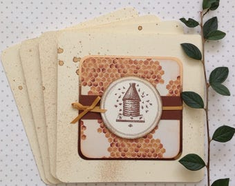 GREETINGS cards.  ( pack of 4 , blank ) ' Bee Skep'  . Vintage-style ....UK seller...ready to ship....