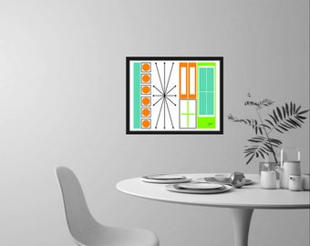 Cup Art Print Modern Retro Inspired Design in Various Colors and Sizes
