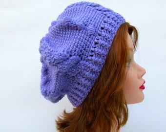 Beret Hat Women's, Crochet Hats For Women, Purple Beanie Hat, Tam Hat, Crochet Cable Hat, Wool Beanie Women's, Crochet Beanie, Women's Hats