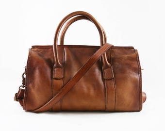 Dove - Distressed leather top handle weekender bag for women, distressed full grain leather, real leather bag gift