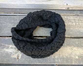 Black Super Soft Baby Alpaca Lace Knit Cowl