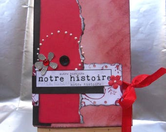 "Mini scrapbook album wrecked ""Our story"" to customize"
