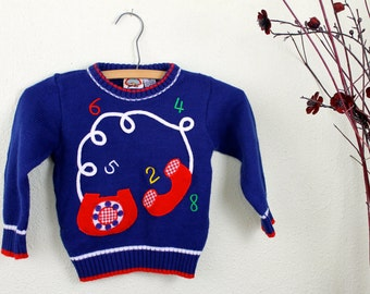 Vintage Sweater Children's Telephone Sweater Size 4