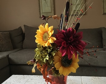 Sunflowers and Dahlias