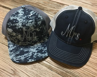 Mr. and Mrs.  Trucker Hats, Great for Honeymooners! Camo for the Mr!