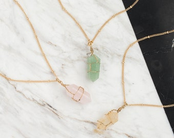 Raw quartz necklace, Rose quartz necklace, Aventurine necklace, Citrine necklace, Dainty necklace, Gift under 20, Healing Crystal Necklace,