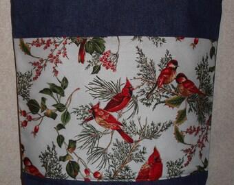 New Large Handmade Cardinals Winter Birds Holiday Denim Tote Bag