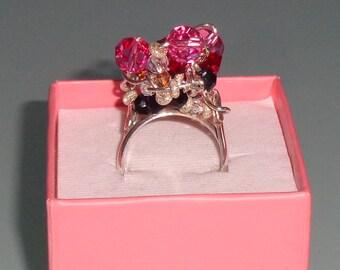 Swarovski Crystal Sterling Silver Cluster Fuck Ring Pink Red